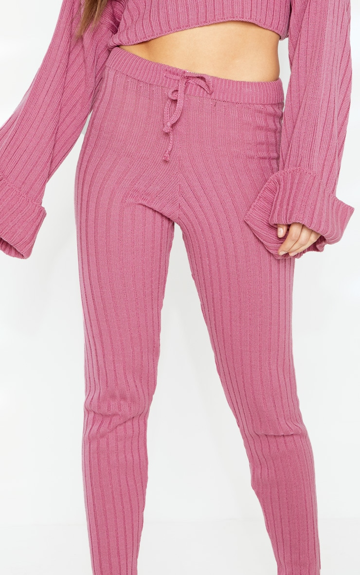 Pink Knitted Ribbed Trouser 5