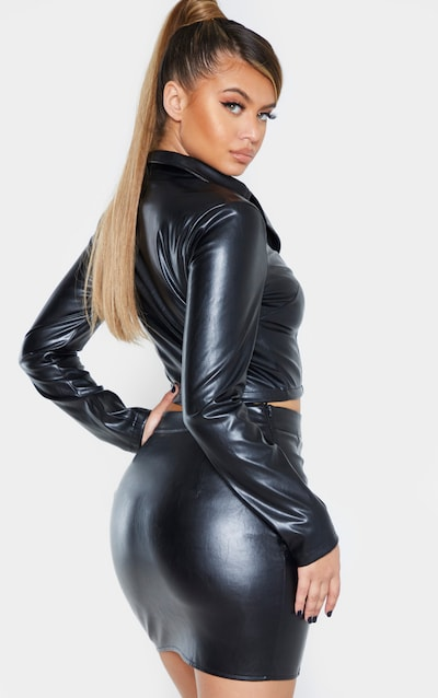Black Faux Leather Long Sleeve Zip Front Shirt