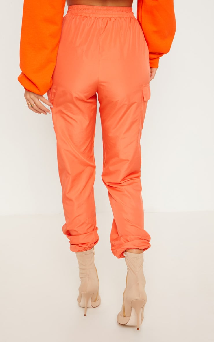 Orange Toggle Waist Shell Suit Track Pants 4