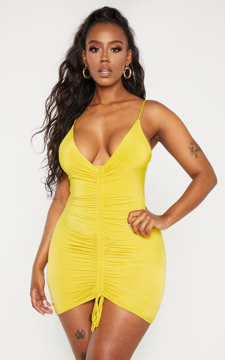 Shape Chartreuse Slinky Ruched Strappy Bodycon Dress 1