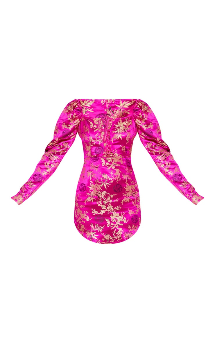 Magenta Jacquard Floral Lace Up Long Sleeve Bodycon Dress 4