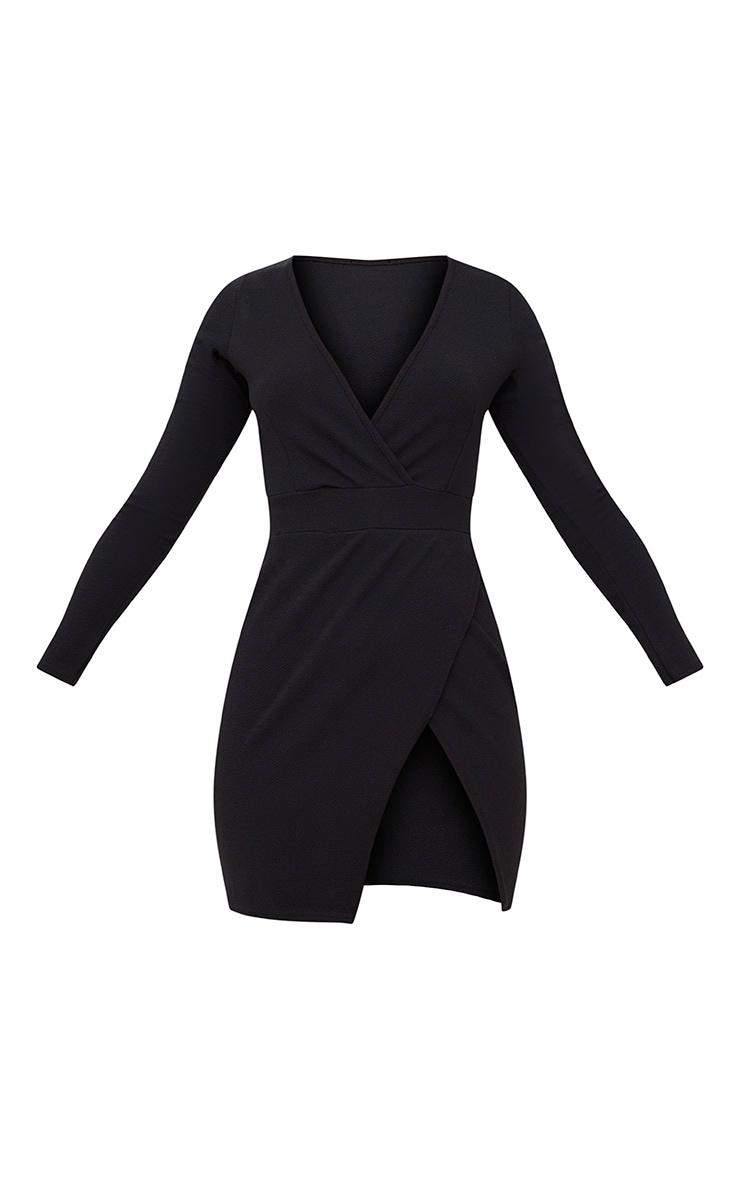 Black Plunge Wrap Detail Thigh Split Bodycon Dress 3