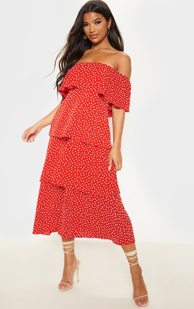Rust Polka Dot Tiered Frill Detail Midi Dress
