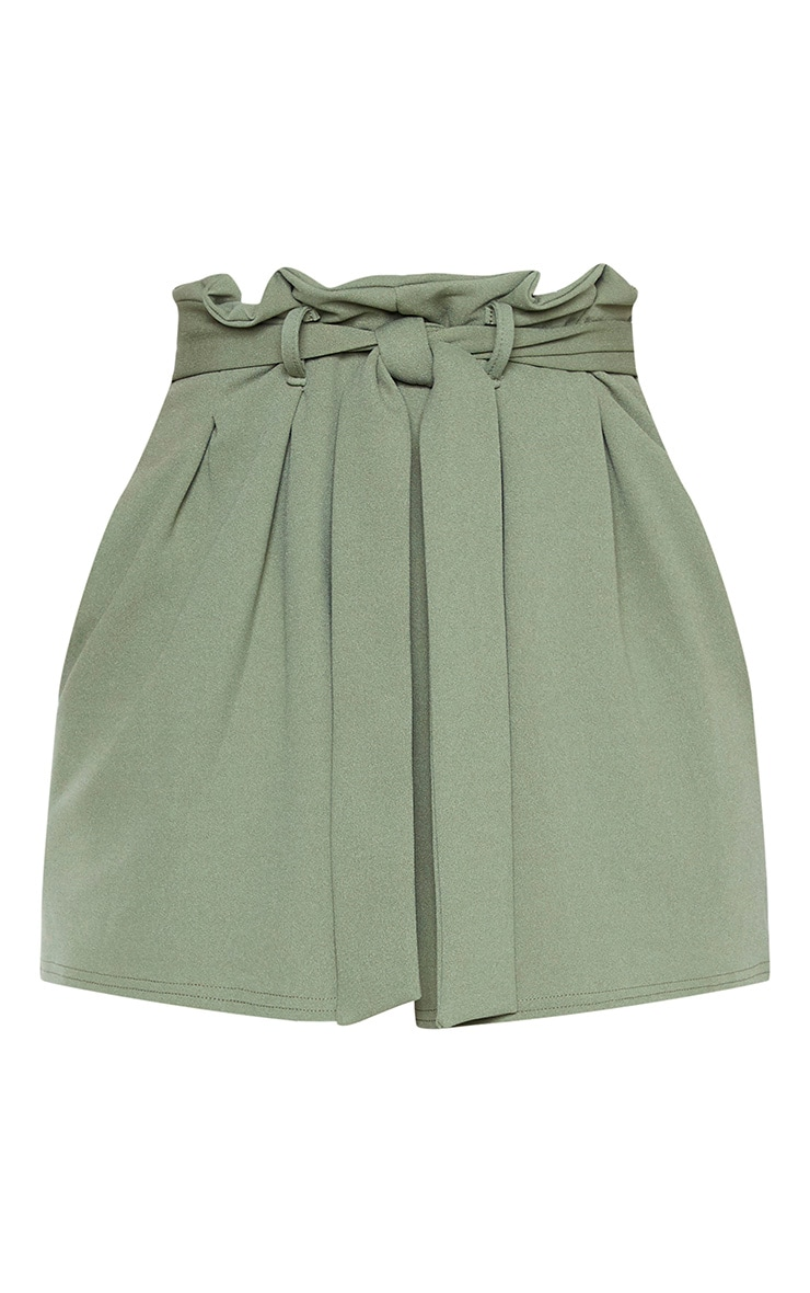 Khaki Pleated Waistband Tie Waist Short 3
