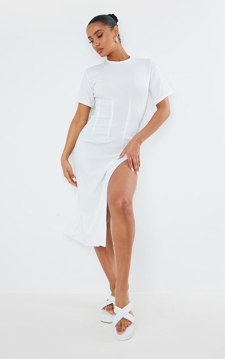 White Rib Pleated Waist Detail Split Hem Midi Dress 1