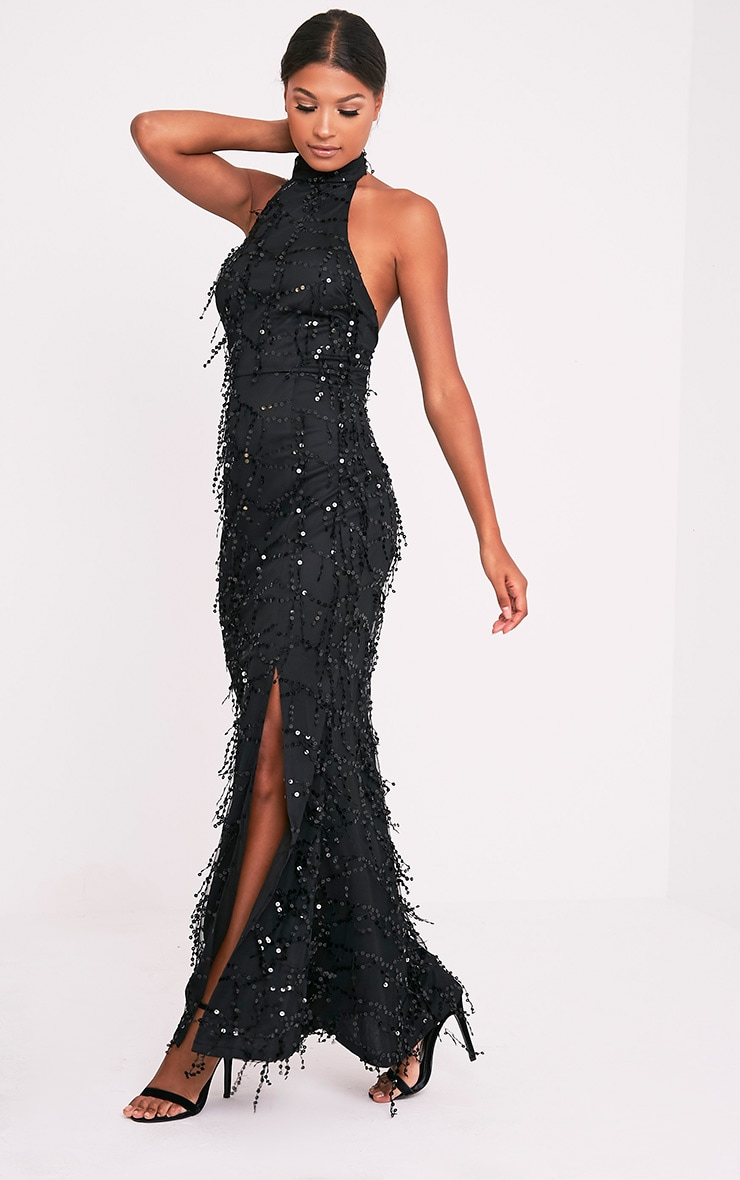 Maya Black Sequin Fishtail Maxi Dress 6