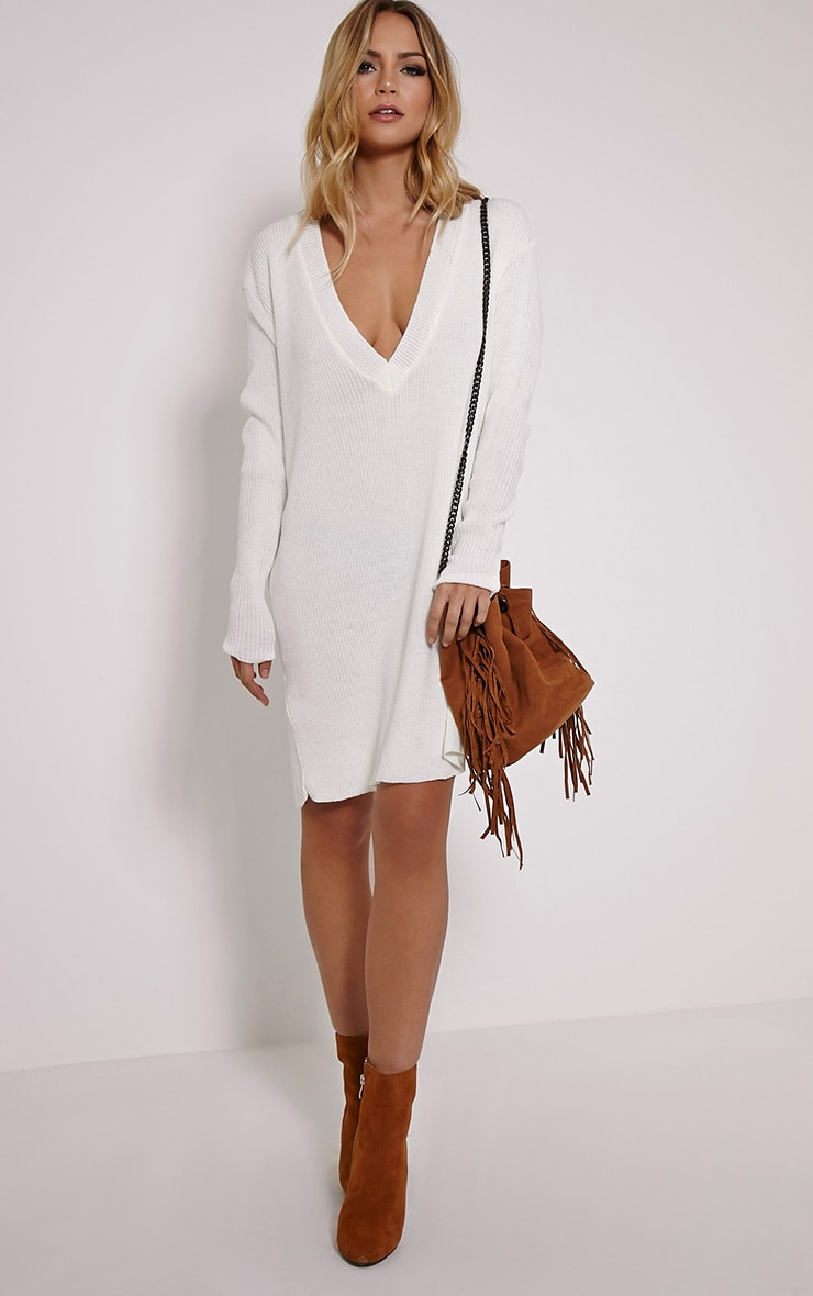 Nashton Cream V Neck Ribbed Jumper Dress 3