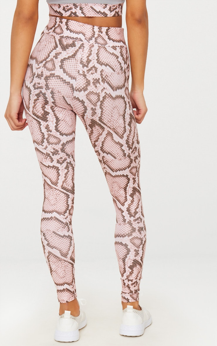 Pink Snake Contrast Gym Leggings 4
