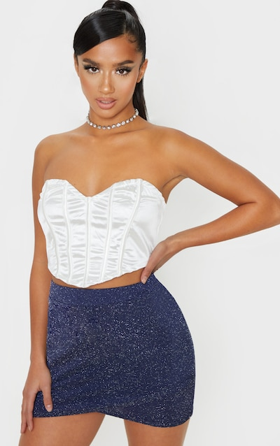 Petite Navy Wrap Textured Glitter Mini Skirt