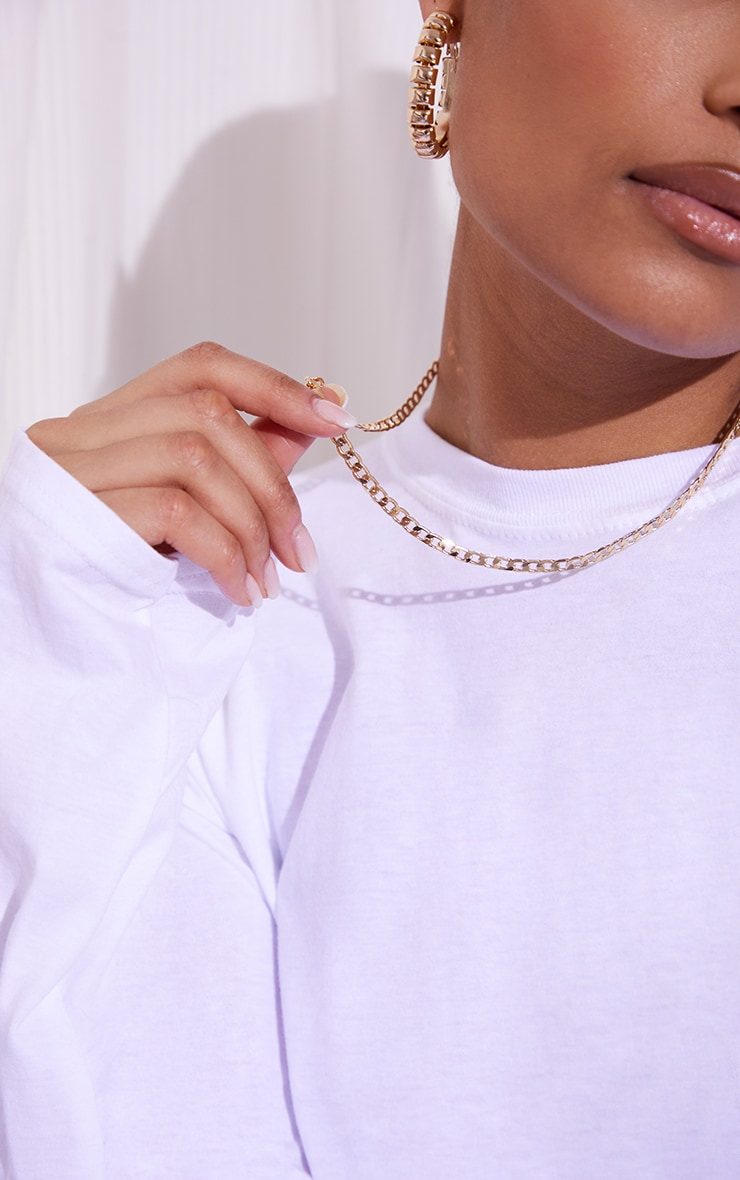 Gold Dainty Curb Chain Necklace 2