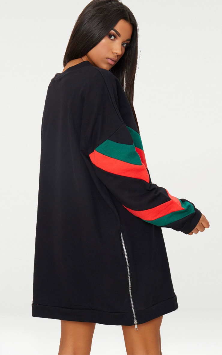 Black Chevron Oversized Jumper Dress 2