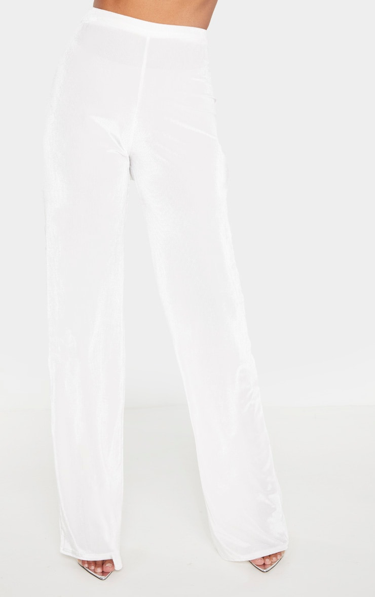 White Sheer Rib Velvet Wide Leg Pants 2