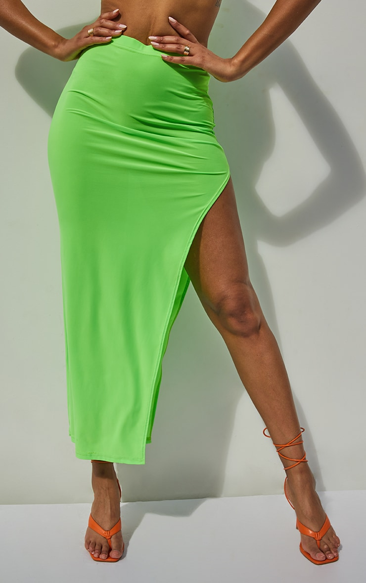 Jupe longue vert citron slinky à côté fendu 2