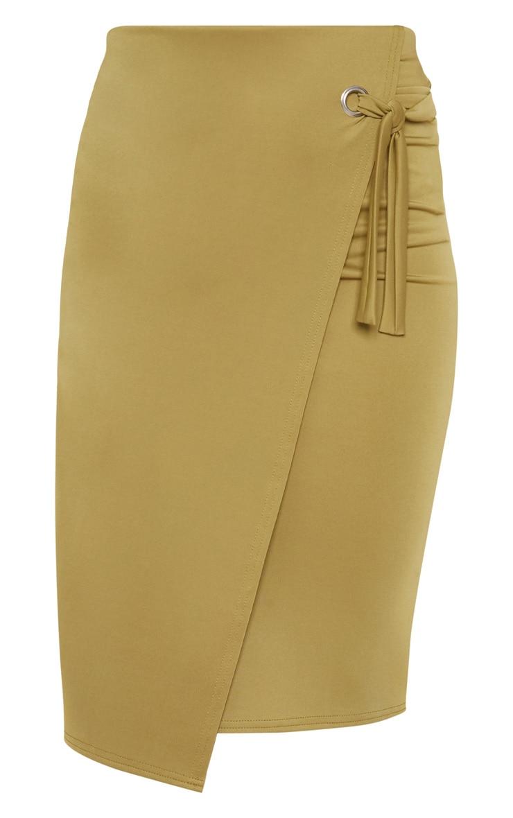 Olive Eyelet Detail Wrap Pencil Skirt 3