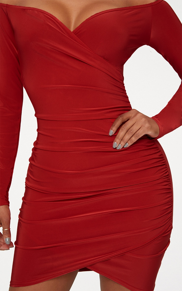 Shape Red Slinky Ruched Detail Bardot Dress 4