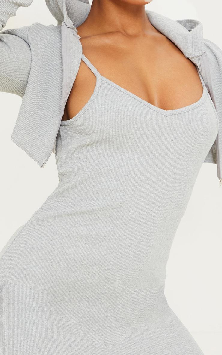 Grey Rib Frill Edge Strappy Mini Bodycon Dress 4