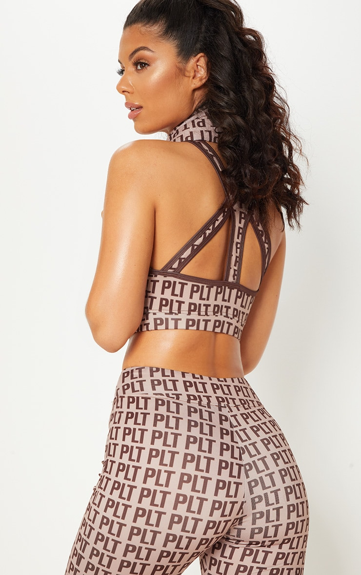 PRETTYLITTLETHING Stone Keyhole Strappy Back Crop Top 6