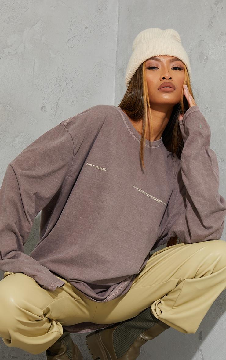 PRETTYLITTLETHING Chocolate International Long Sleeve T Shirt 1