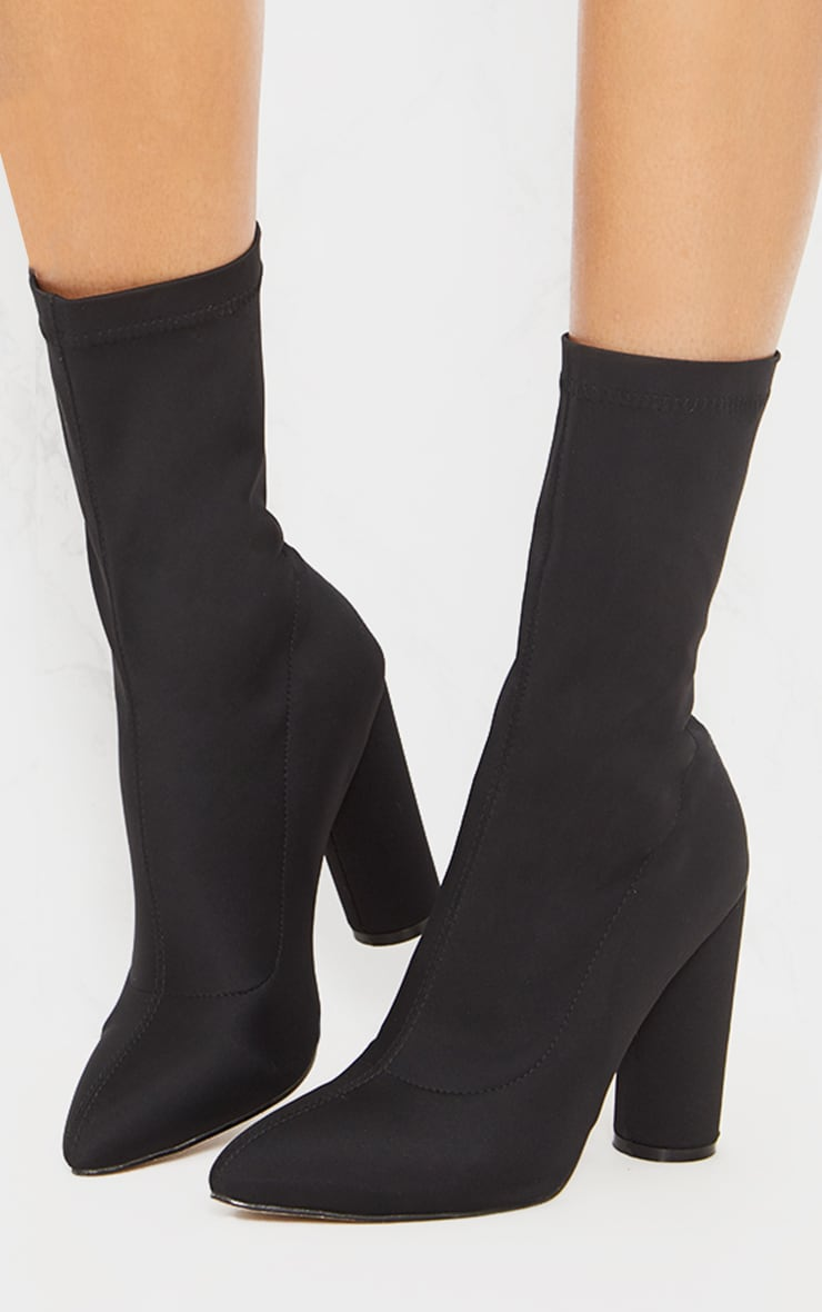 Black Block Heel Sock Boot 1