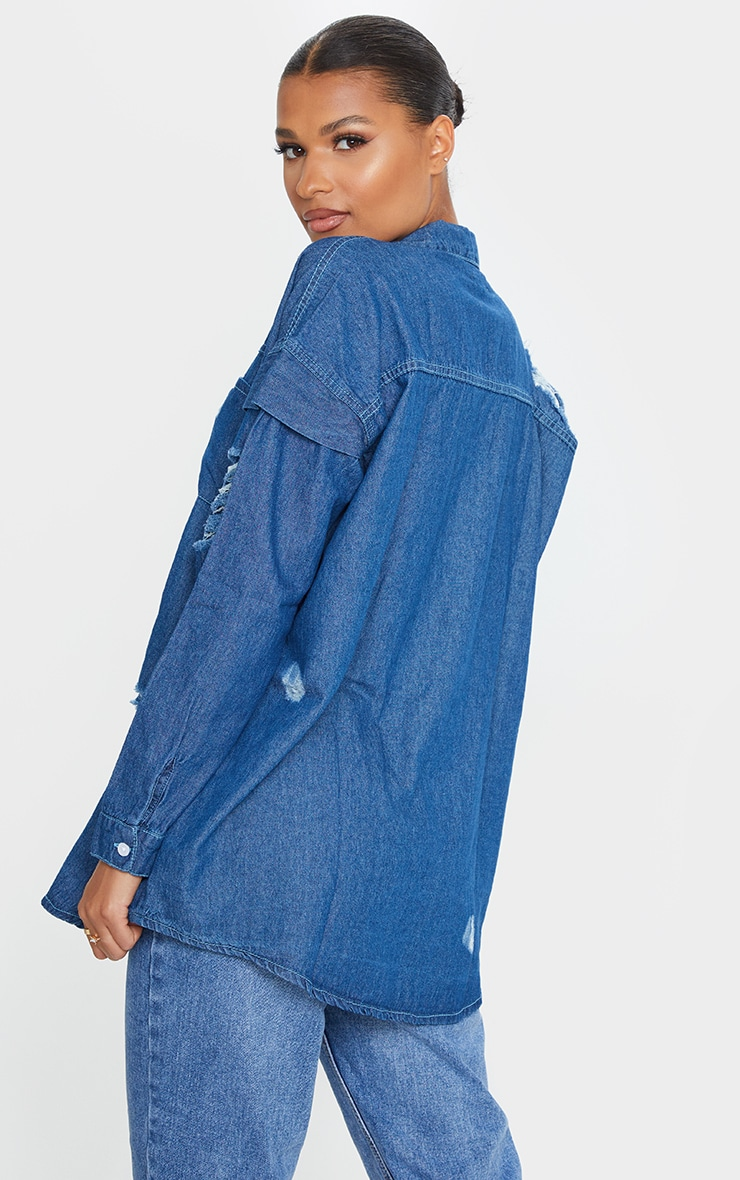 Mid Wash Oversized Distressed Denim Shirt 2