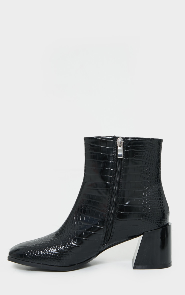 Black Square Toe Low Flare Block Heels Ankle Boot 4