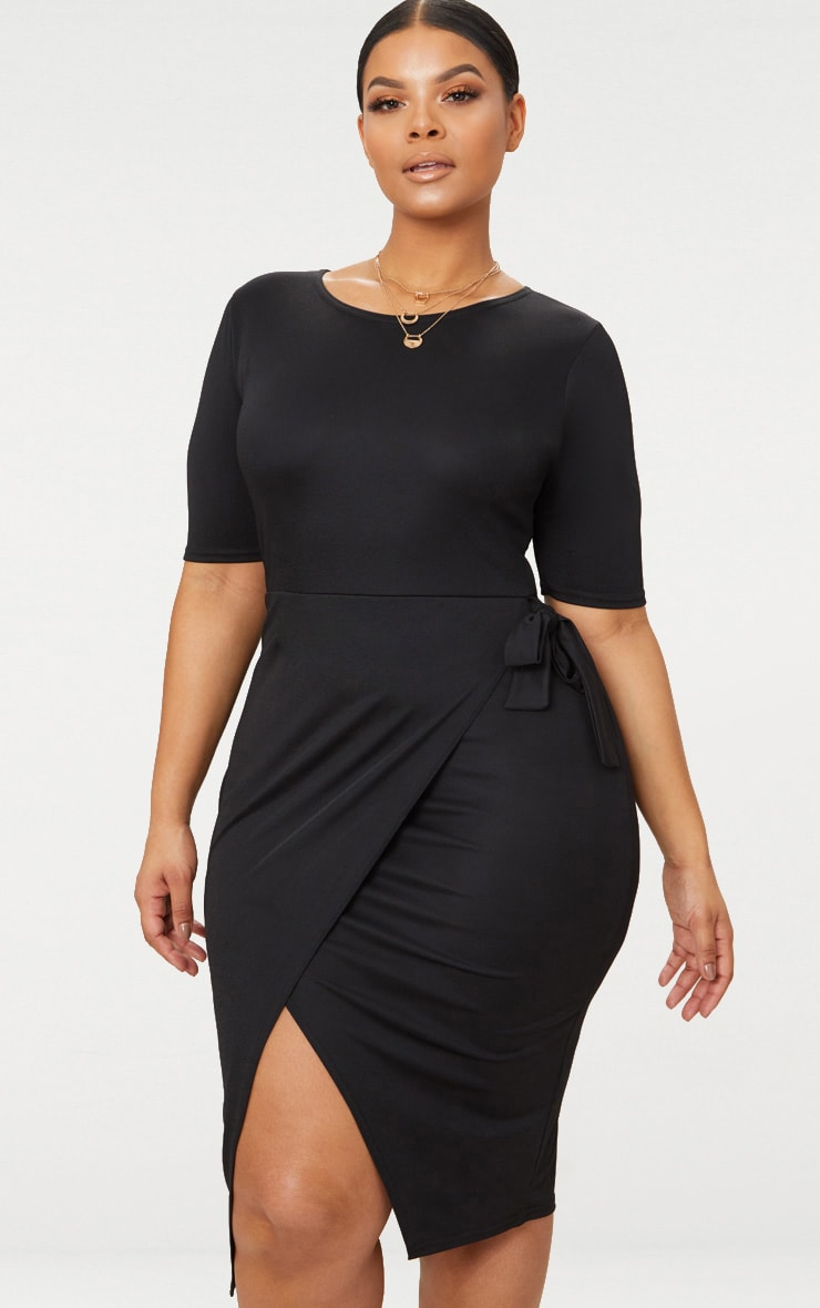 Plus Black Tie Detail Midi Dress