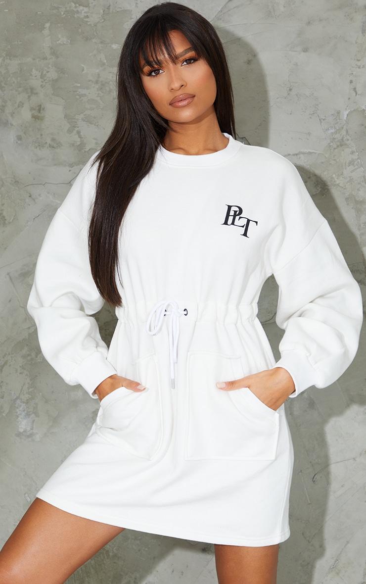 PRETTYLITTLETHING Embroided Cream Drawstring Pocket Detail Jumper Dress 1