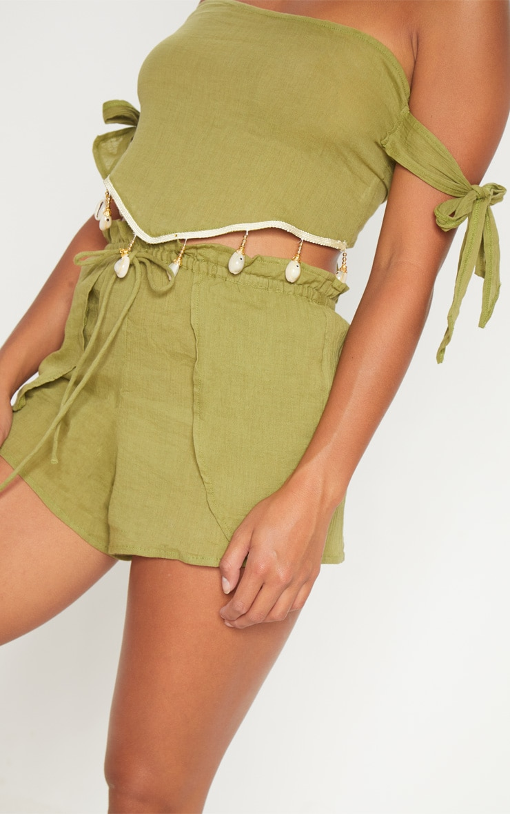 Petite Olive Cheesecloth Shell Trim Crop Top 5