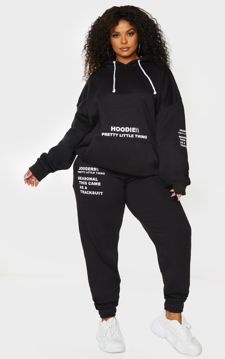 PRETTYLITTLETHING Plus Black Oversized Slogan Print Pocket Front Hoodie 3