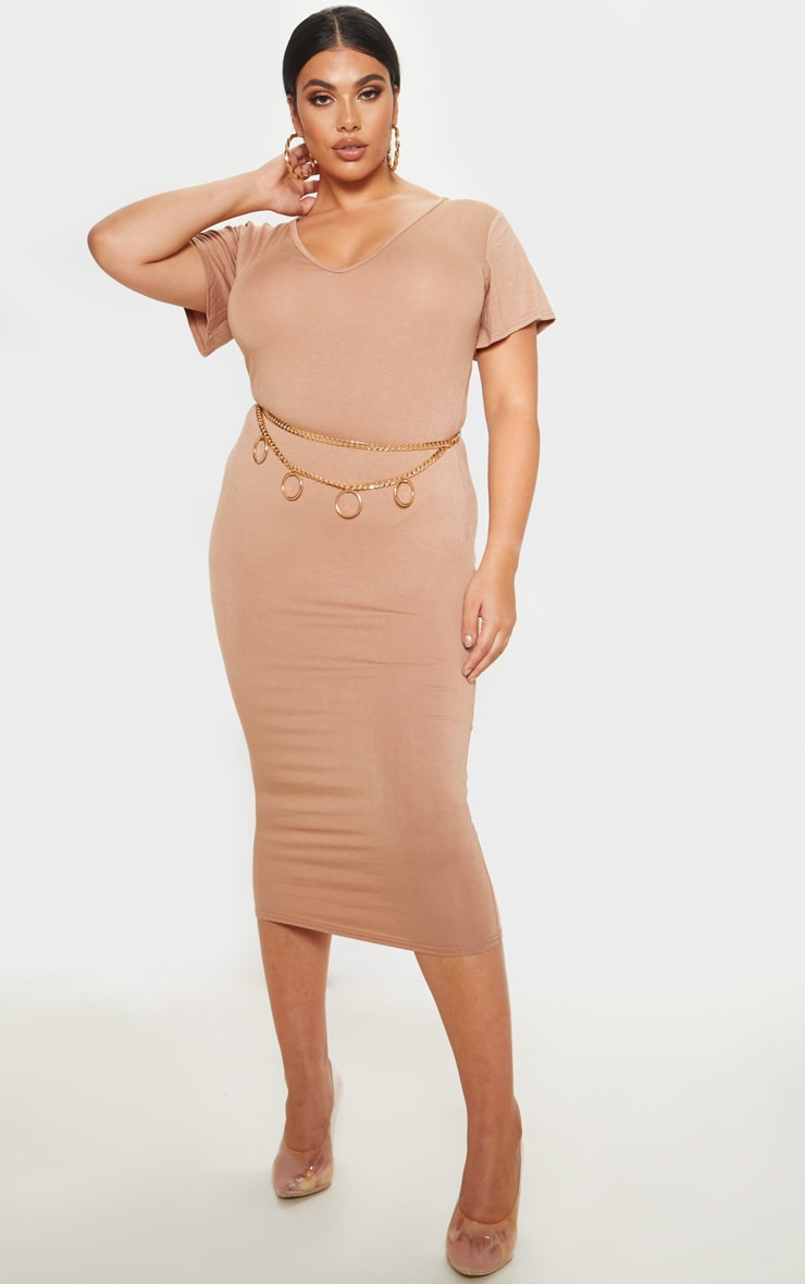 Plus Camel Jersey V Neck T- Shirt Midi Dress 1