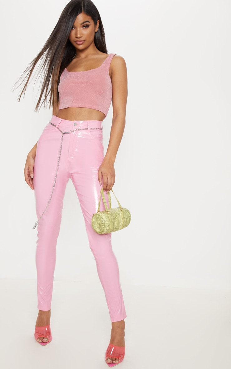 Light Pink Textured Glitter Crop Top 4