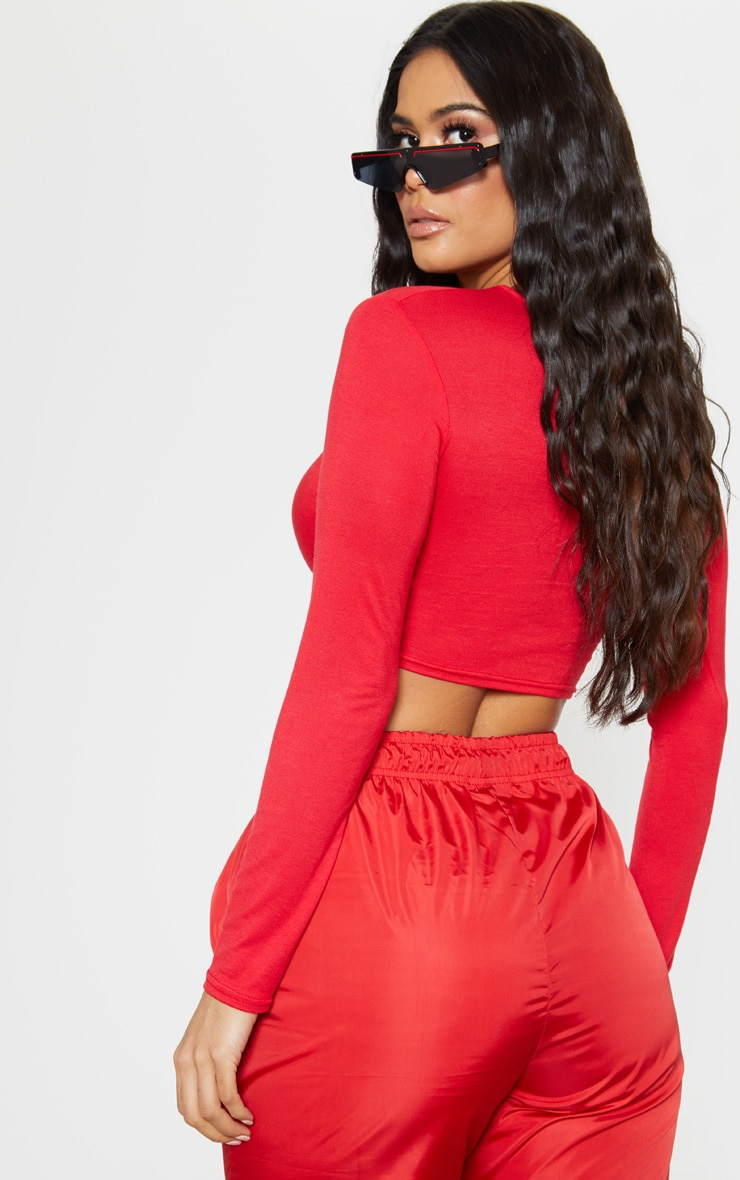 Red Jersey Knot Hem Long Sleeve Crop Top 2