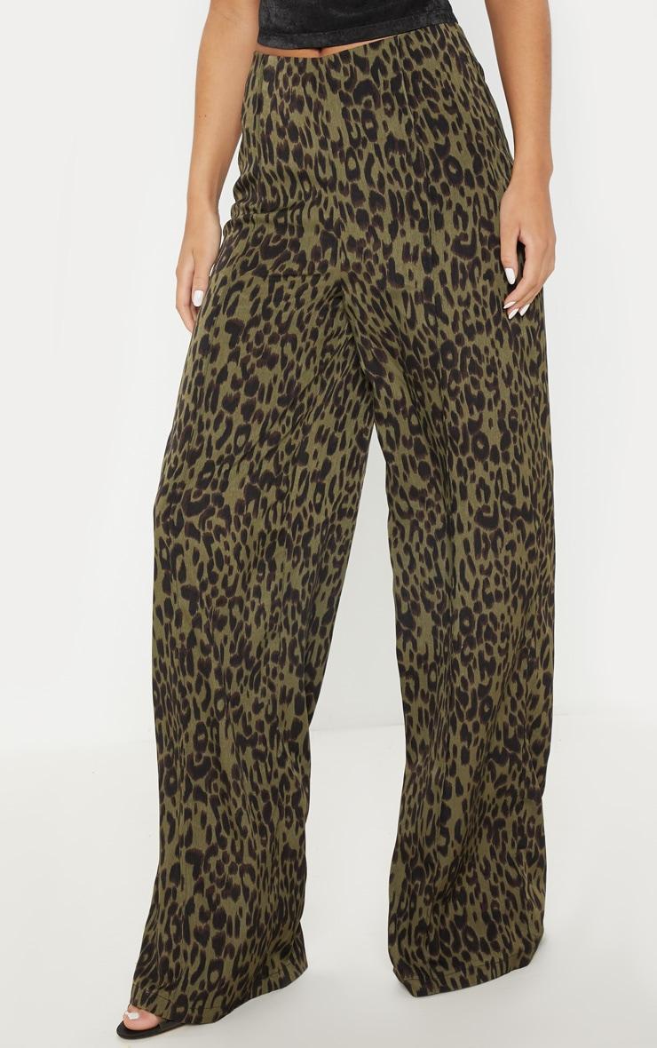 Khaki Printed Wide Leg Pants 2