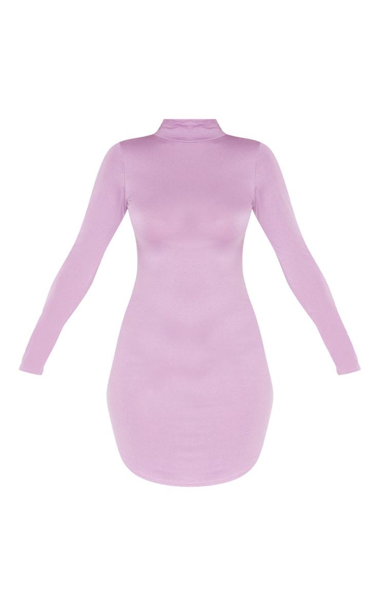 Lilac Curve Hem High Neck Bodycon Dress  3