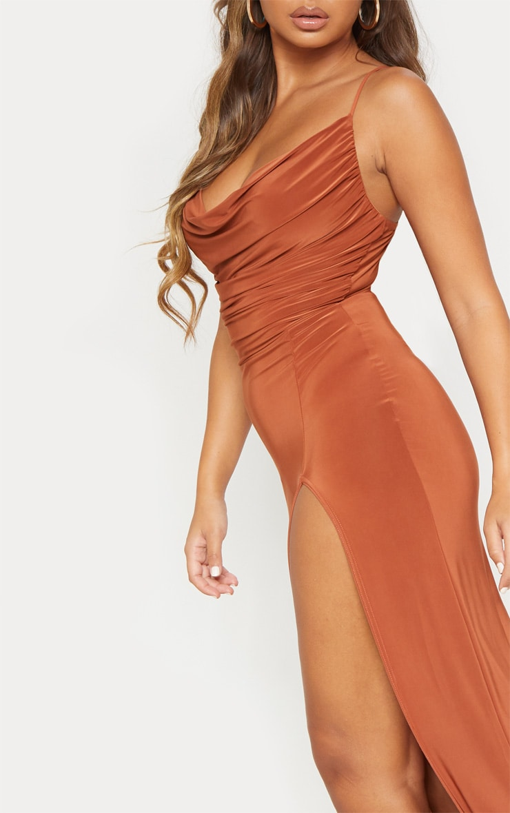 Terracotta Slinky Ruched Drape Split Leg Maxi Dress 5