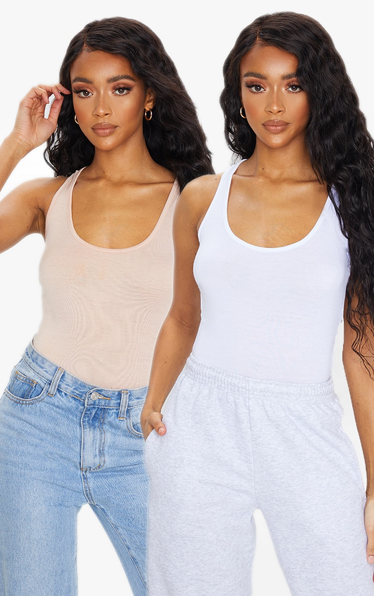 White Basic Racer Back Bodysuit 2 Pack 1