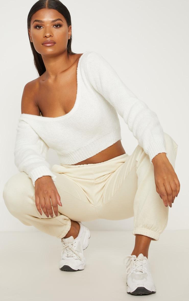 Cream V Neck Off Shoulder Knitted Cropped Jumper 4