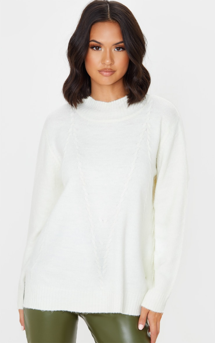 Cream High Neck Fluffy Knit Twist Detail Jumper 4