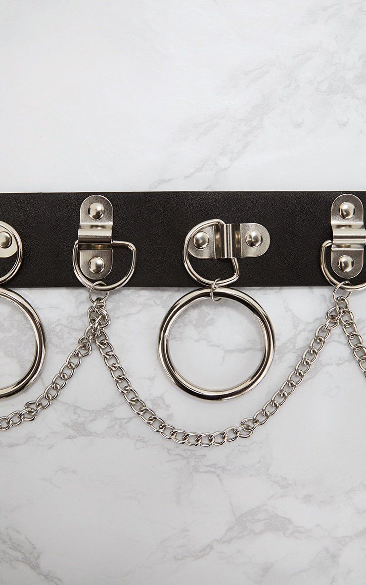 Black Silver Chained Hoops Belt 4