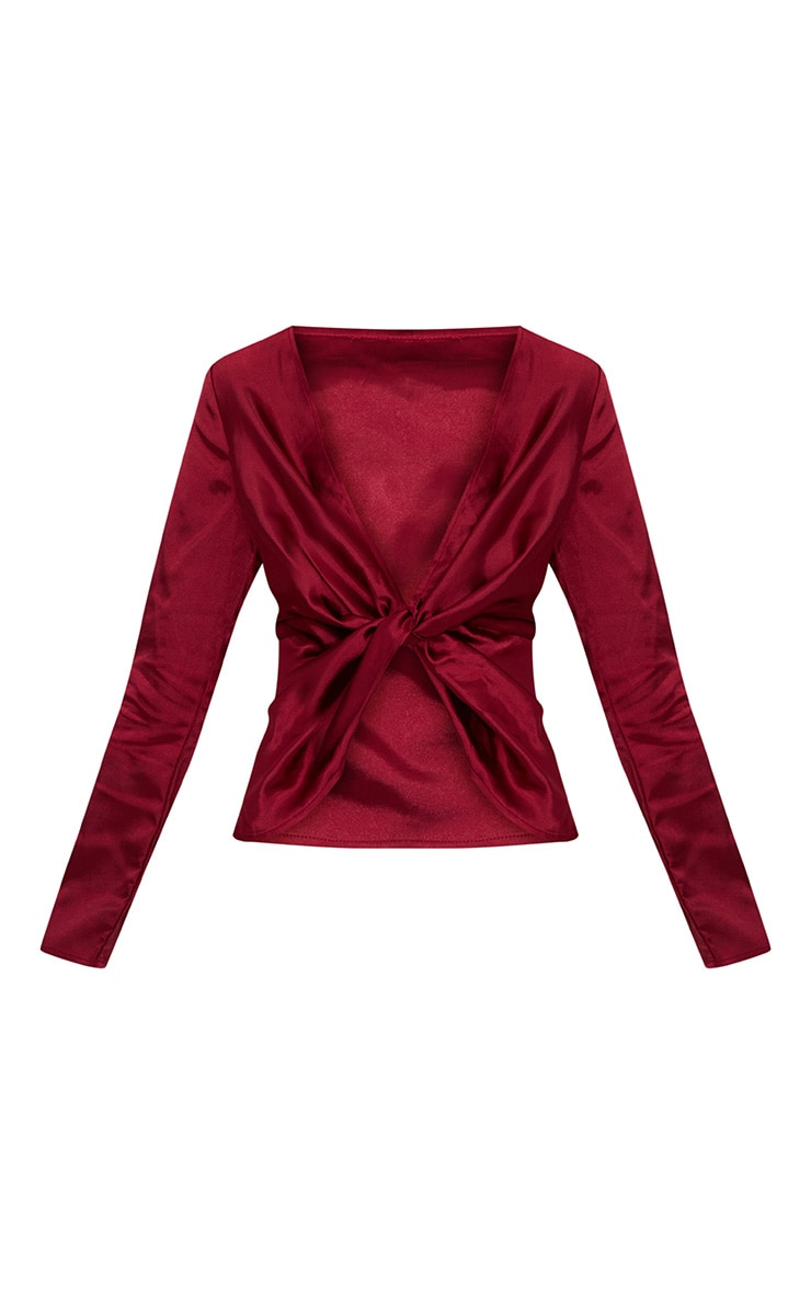Burgundy Satin Twist Front Long Sleeve Blouse 3