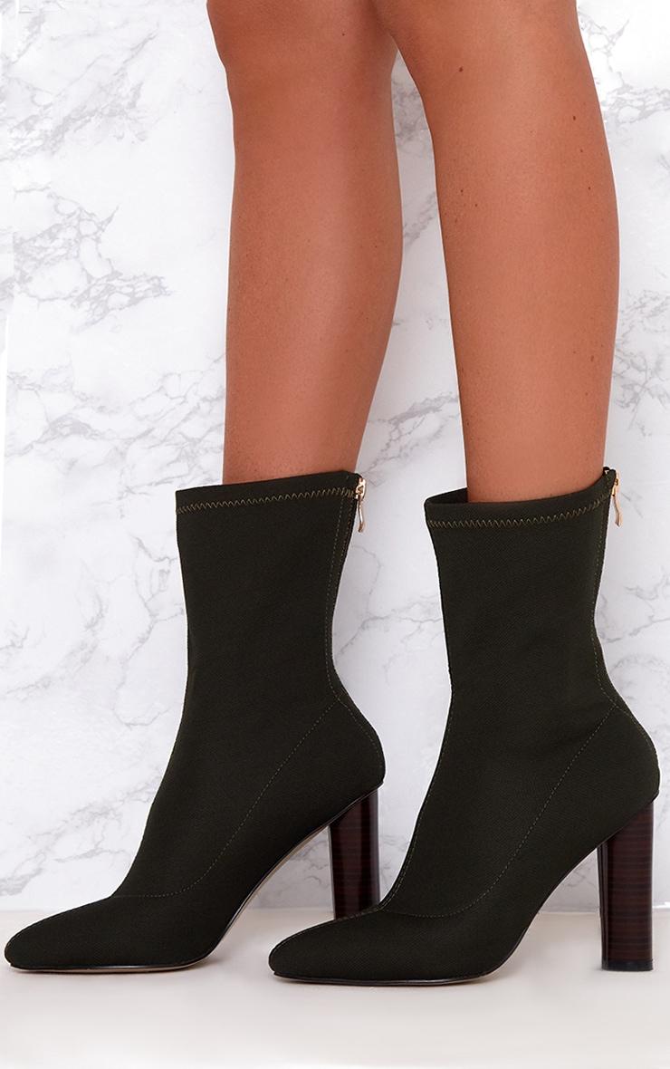 Khaki Woven Sock Heeled Boots  2