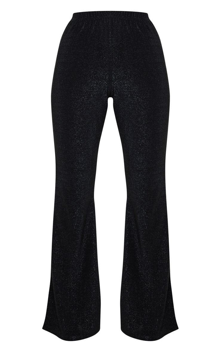 Petite Black Textured Glitter Flared Pants 3