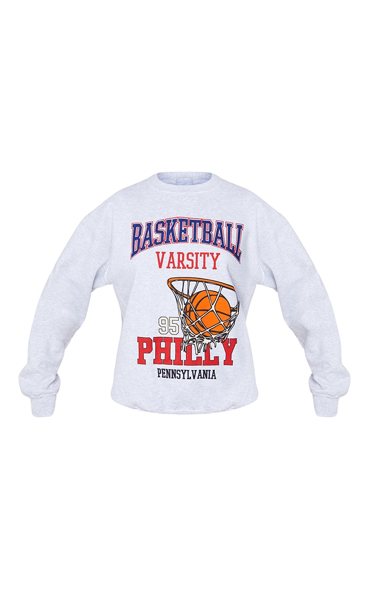 Grey Marl Basketball Varsity Slogan Sweatshirt 5
