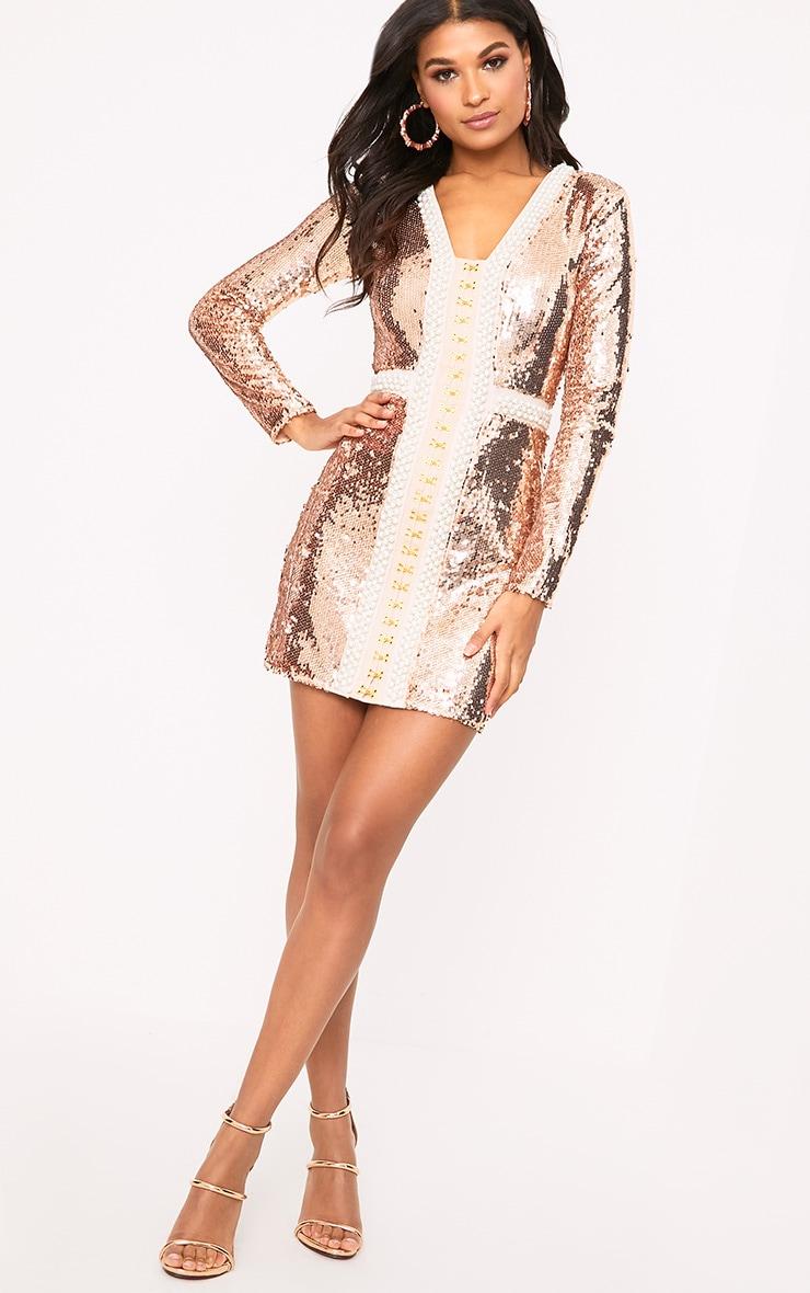 Valencia Rose Gold Premium Embellished Sequin Bodycon Dress 4