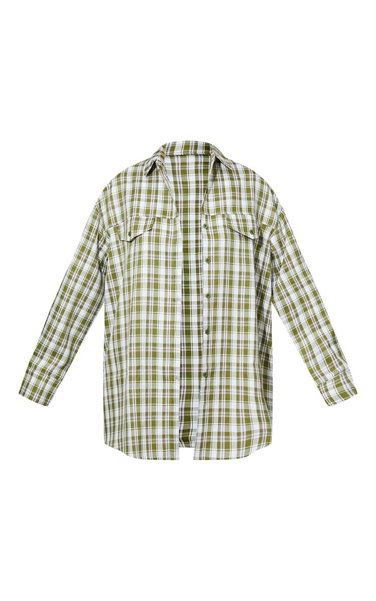Khaki Woven Checked Pocket Detail Oversized Shirt 5