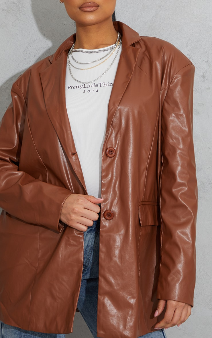 Toffee Faux Leather Oversized Dad Blazer 4