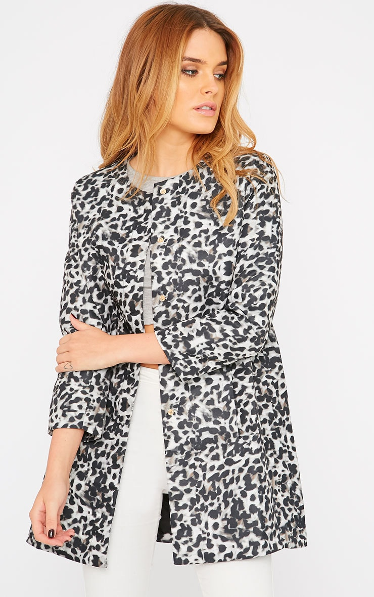 Orianna Grey Leopard Collarless Coat  4