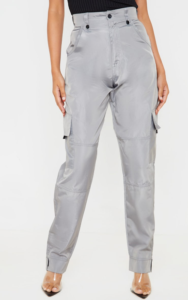 Grey Shell Straight Cargo Pocket Jogger 2