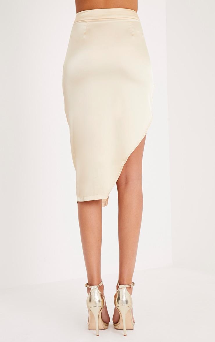 Shreya jupe drapée portefeuille en satin champagne  5