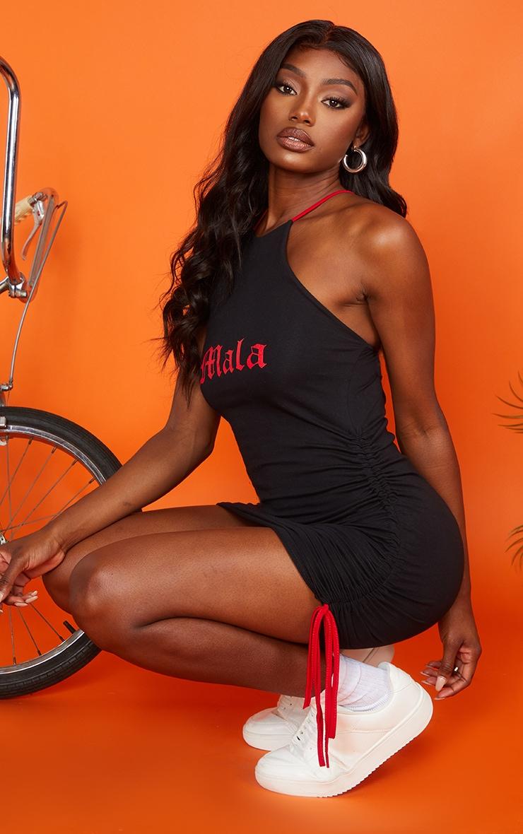 Black Ruched Mala Bodycon Dress 1